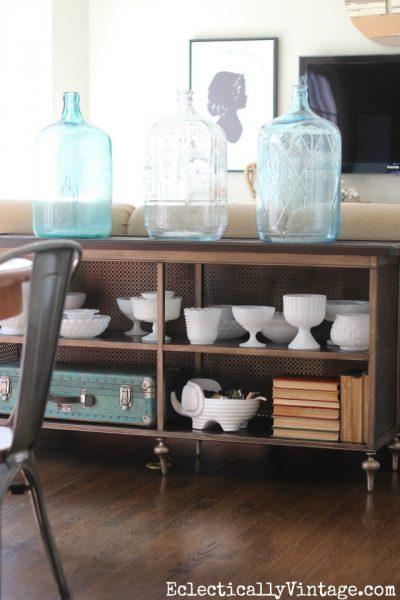 glass water jugs, vintage milk glass