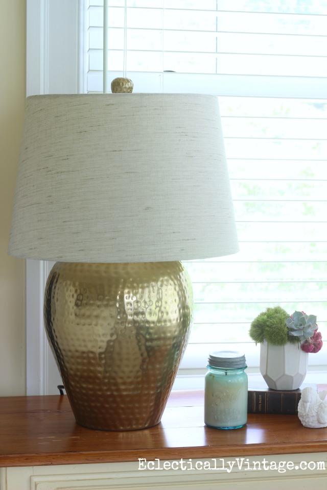 Love this hammered brass lamp kellyelko.com