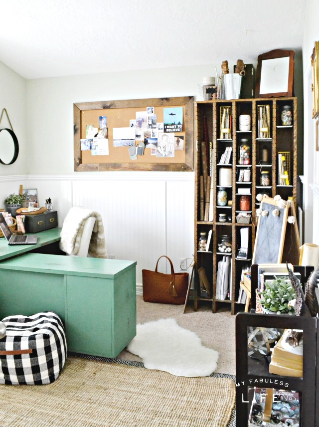 Love this eclectic home office - so many rustic finds make a cozy room kellyelko.com