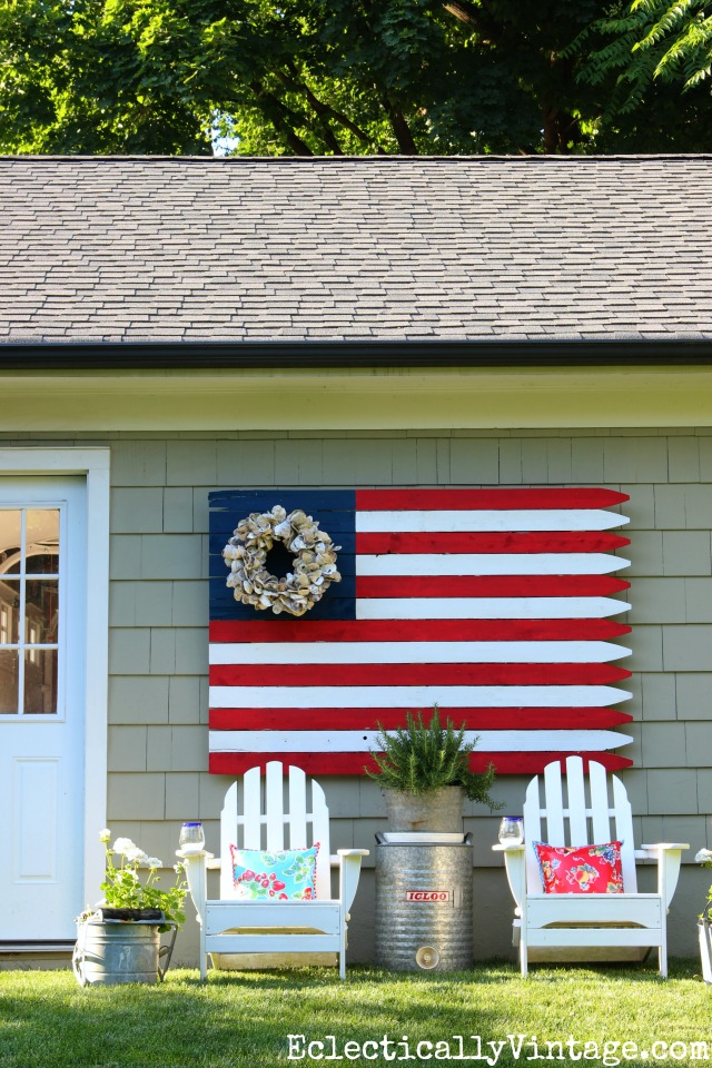 Huge DIY Wood Flag - love this and she has great tips on how to make your own kellyelko.com