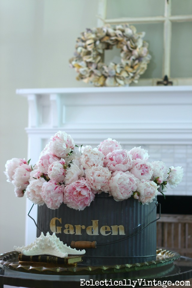 Love this huge peony arrangement in a metal garden tote kellyelko.com