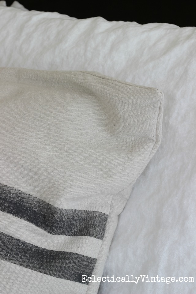 Linen bedding and a grain sack pillow kellyelko.com
