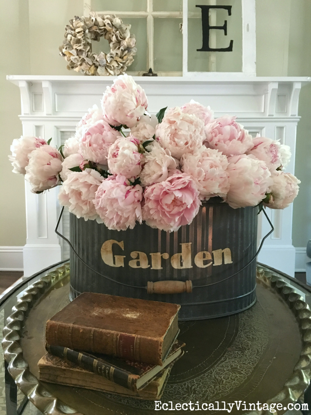 Peonies in galvanized garden bucket kellyelko.com