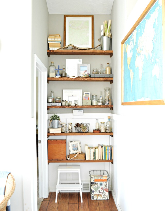 Love these rustic open shelves and her collections kellyelko.com