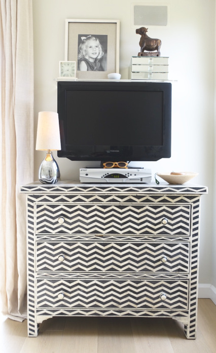 Black and white chevron dresser kellyelko.com