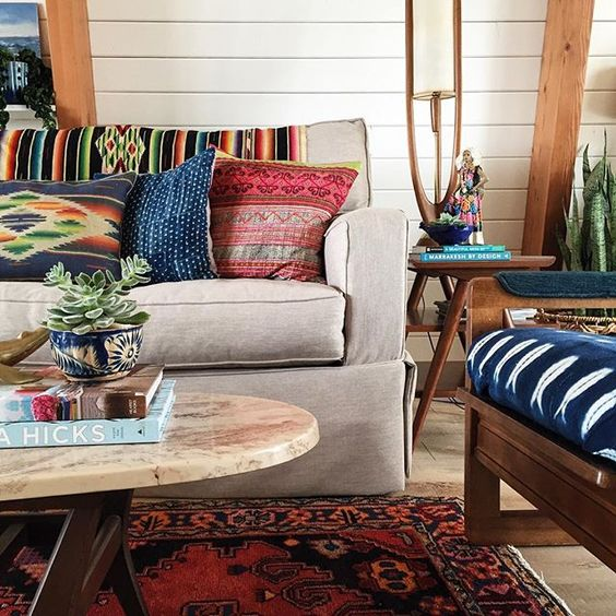 Colorful vintage textiles brighten up this gorgeous beach house kellyelko.com