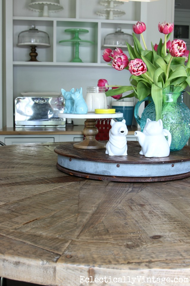 Farmhouse dining table - love this rustic pieced wood table kellyelko.com