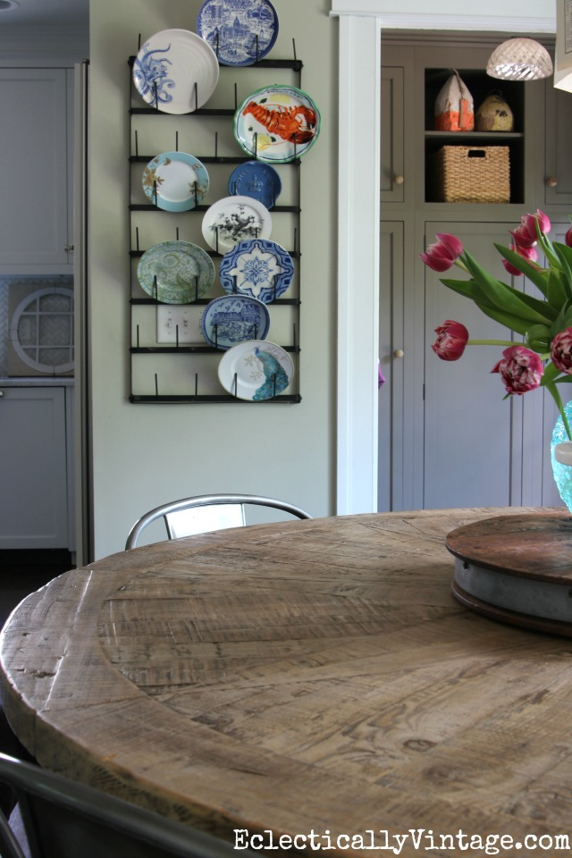 Love this kitchen - that farmhouse table is amazing and love the plate rack kellyelko.com