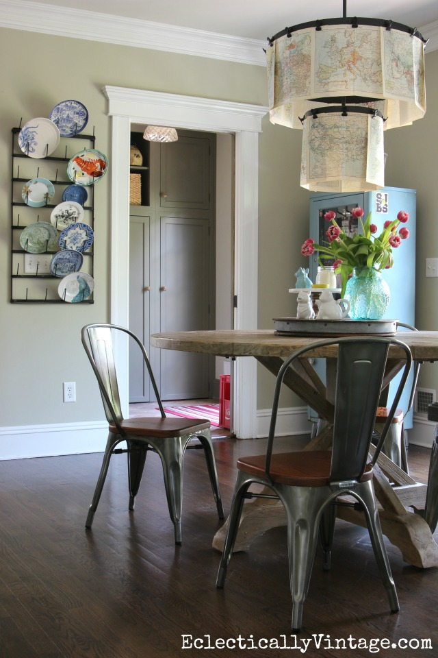 Modern farmhouse kitchen - love the round table and industrial chairs with clip chandelier kellyelko.com