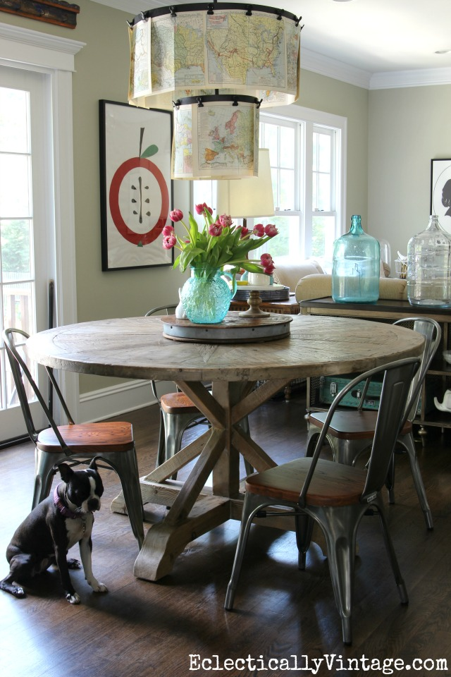 Love this round farmhouse dining table and industrial chairs kellyelko.com