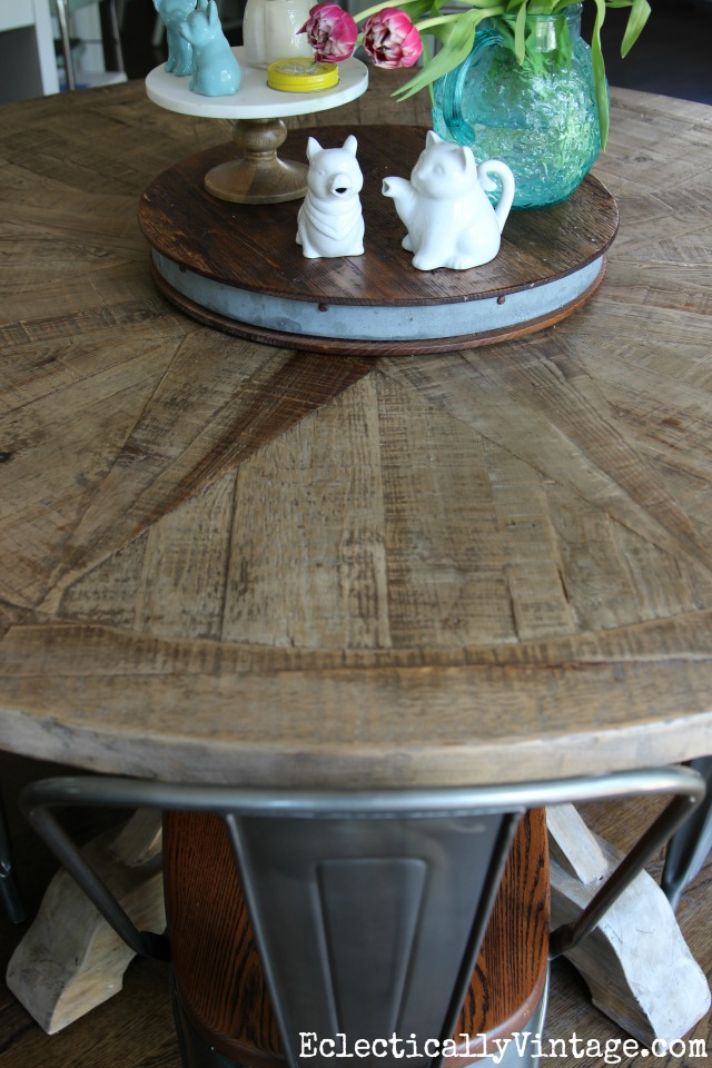 Rustic wood dining table - love the pieced wood kellyelko.com