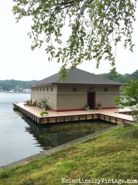 racoon island, boat house, lake