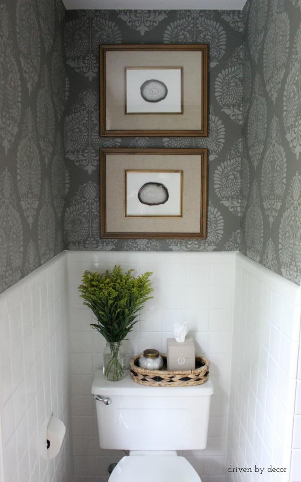 Small bathroom - stencil the walls and add unique art kellyelko.com