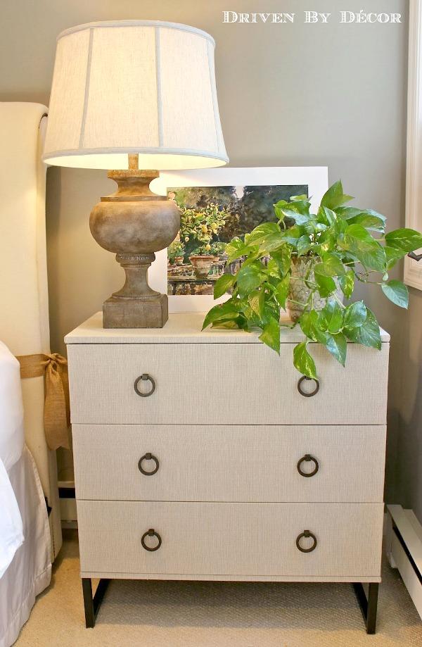 DIY a plain Ikea dresser into this fabric covered beauty kellyelko.com