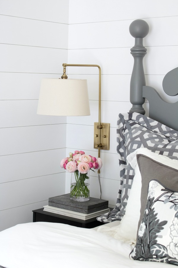 Swing arm sconces instead of bedside lamps - save room on the nightstand kellyelko.com