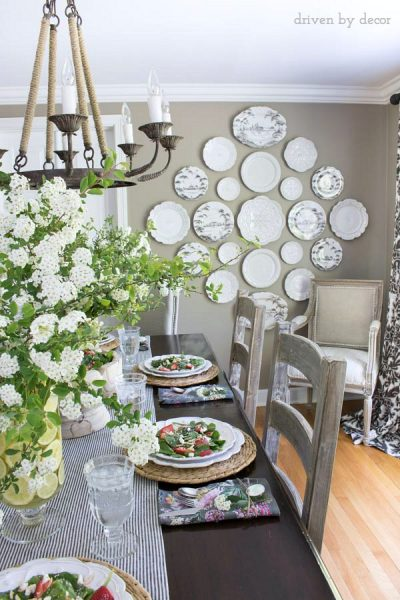 plate wall, gray dining room