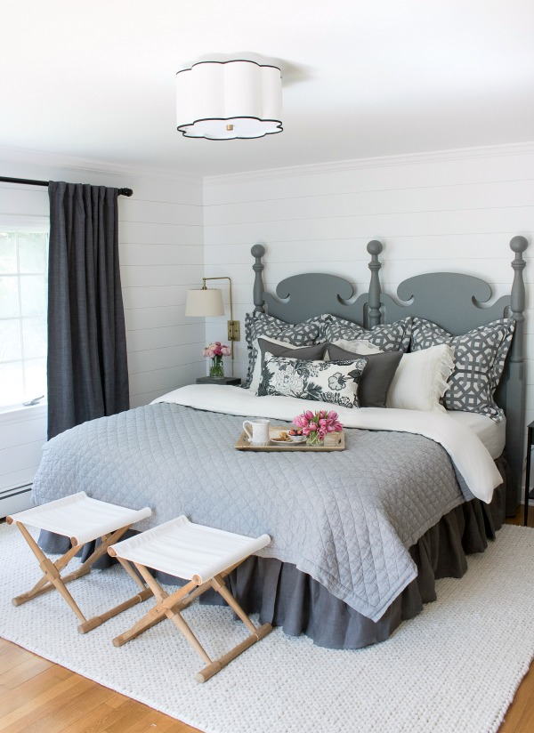 Neutral master bedroom done on a budget  love the vintage bed updated with paint kellyelko.com