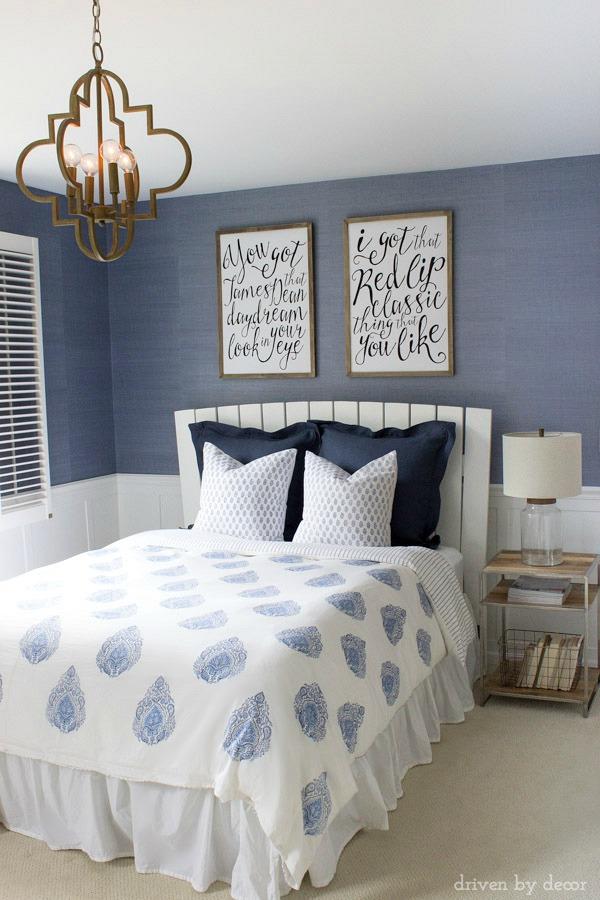 Blue bedroom with unique song lyric art kellyelko.com