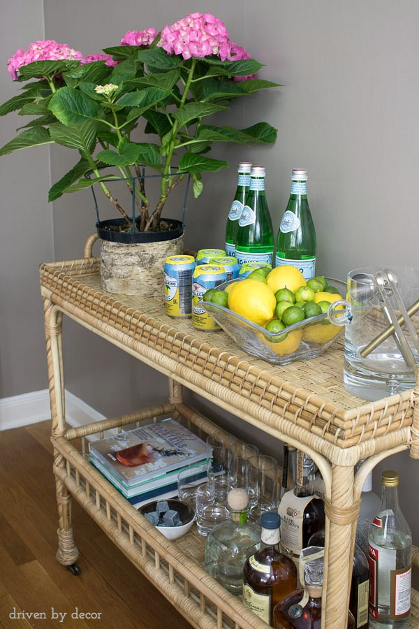 Rattan bar cart kellyelko.com