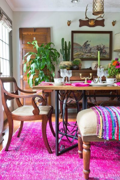 overdyed rug, pink rug, dining room, boho dining room