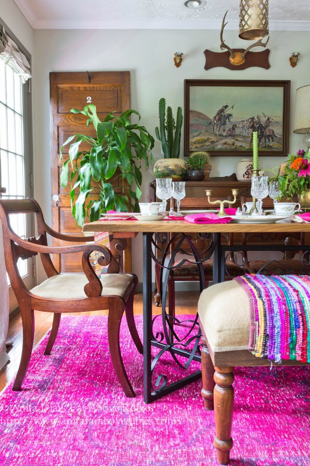 Boho dining room - love the pink overdyed rug kellyelko.com