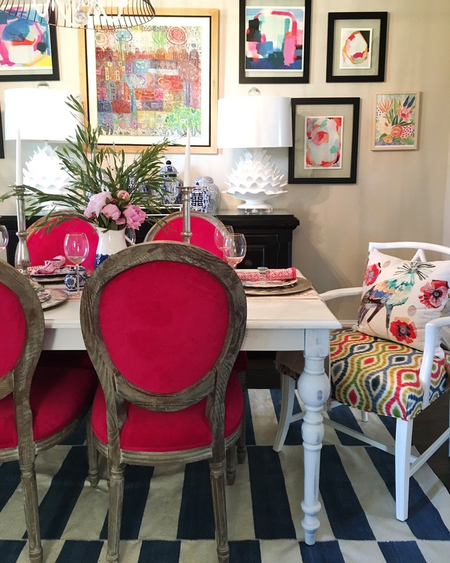She knows how to mix color and pattern in this fun dining room kellyelko.com