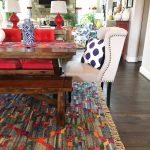 colorful rug, dining room