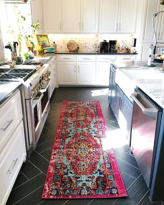 Add a colorful runner to a kitchen for some personality kellyelko.com