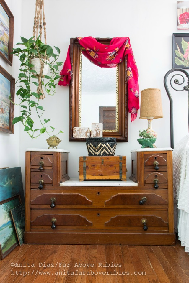 Antique nightstand - love the hanging macrame plant holder kellyelko.com