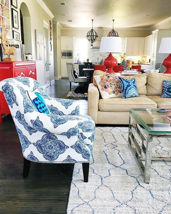 Eclectic mix of color and pattern living room kellyelko.com