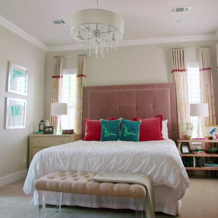 Master bedroom - love the tall upholstered headboard kellyelko.com