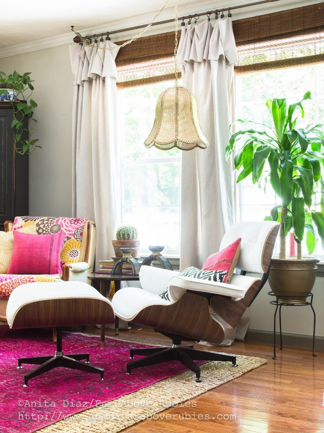 Mid century chair and living room - love the vintage light kellyelko.com
