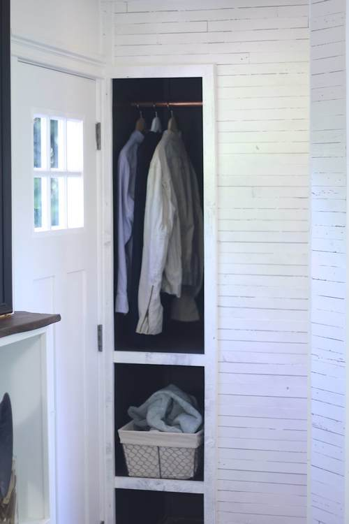 Tiny closet in a tiny house - lots of great storage ideas kellyelko.com