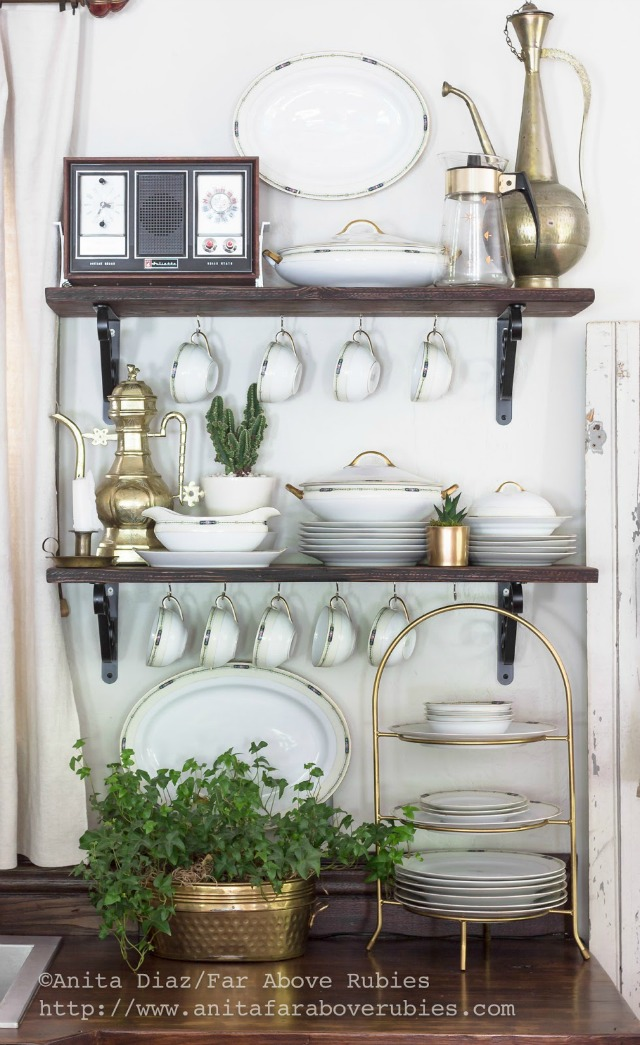 Open shelves displaying vintage china kellyelko.com