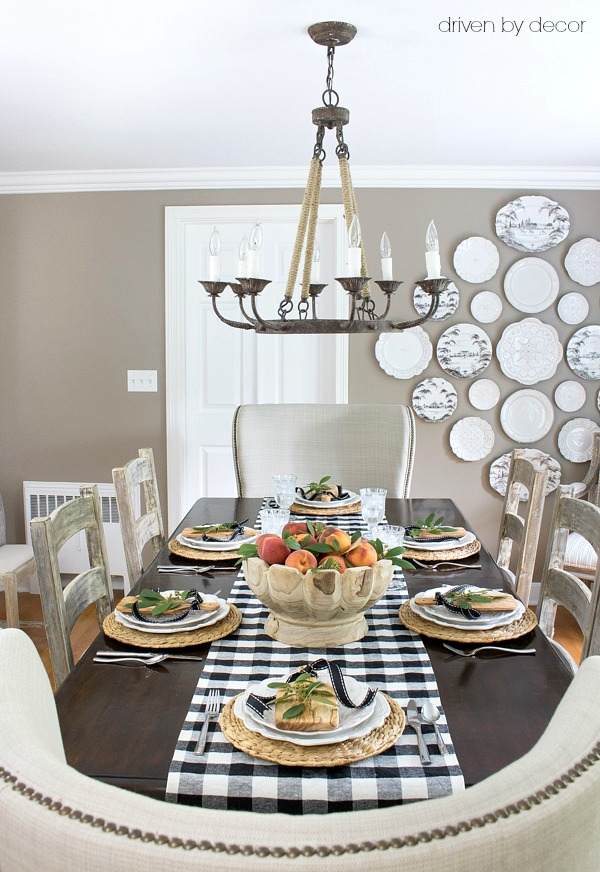 Love this gorgeous dining room set for a rustic fall dinner kellyelko.com