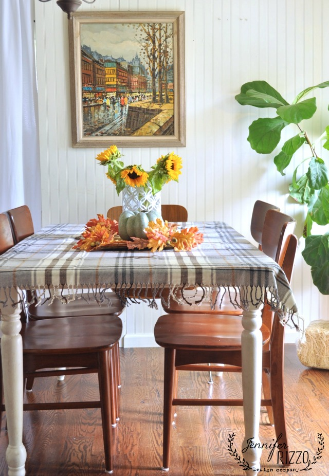 Love this dining room - use a plaid blanket as a tablecloth for fall kellyelko.com