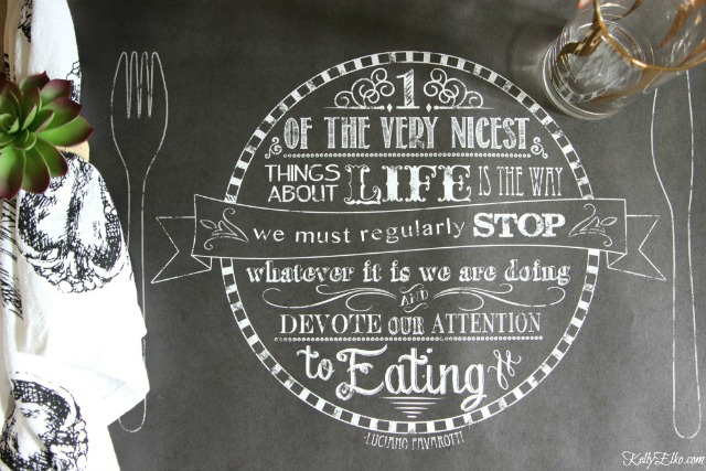 Chalkboard placemat - love the quote! kellyelko.com