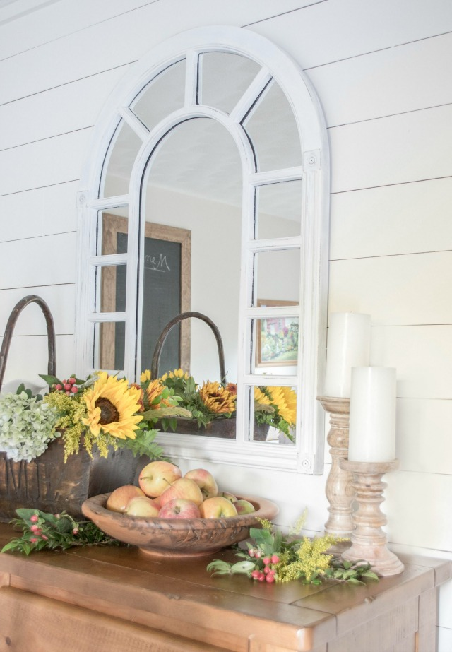 Love this arched mirror over a gorgeous fall buffet kellyelko.com