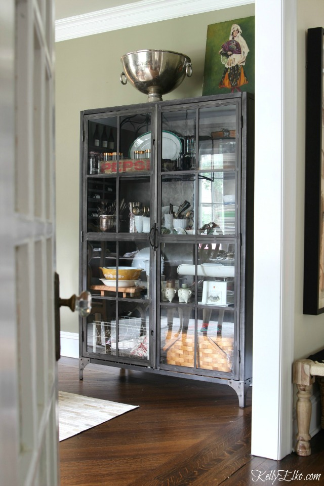 Love this huge metal cabinet for dining room storage kellyelko.com