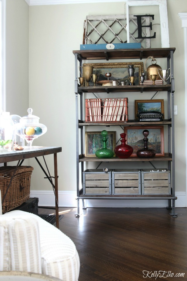 Open shelf display ideas - love all the vintage finds kellyelko.com