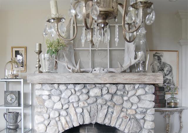 Rustic stone fireplace and mantel kellyelko.com