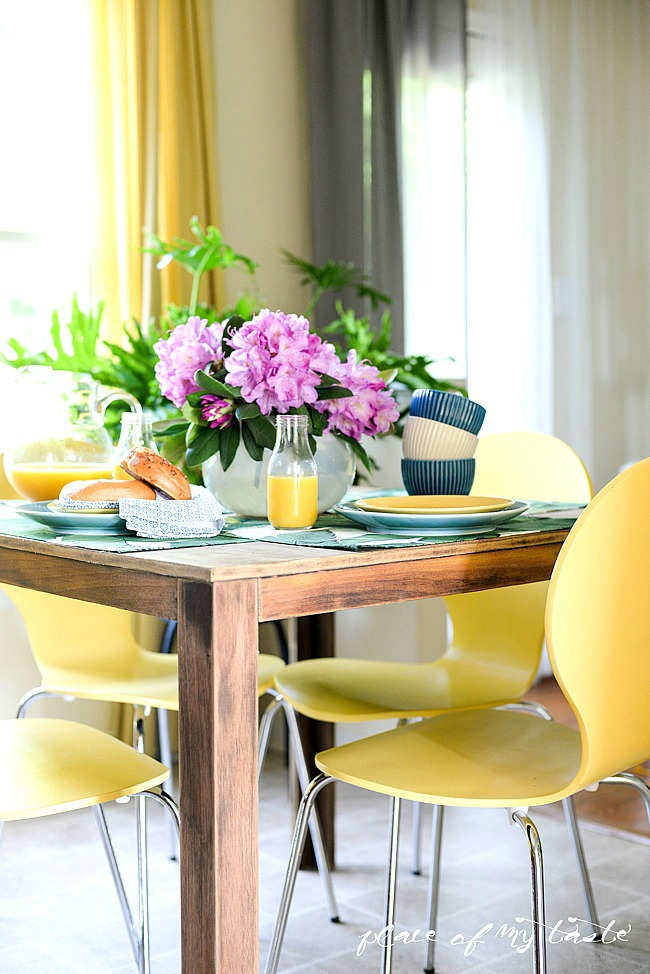 Small kitchen table and modern yellow chairs kellyelko.com
