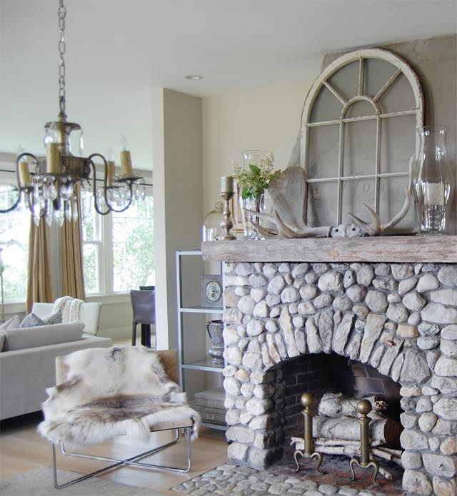 Eclectically Fall Home Tour Old Silver Shed - love this coastal home and the amazing stone fireplace kellyelko.com