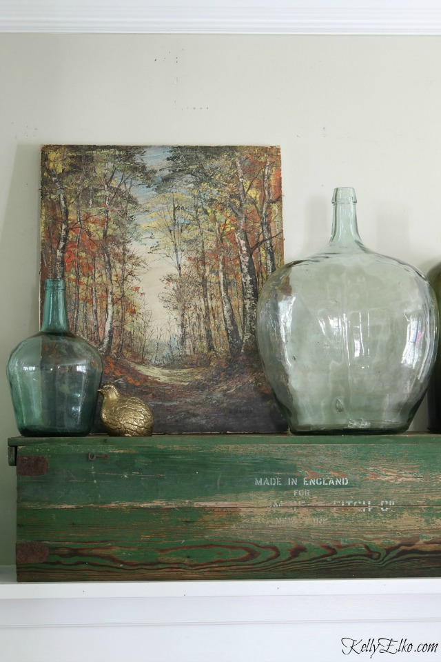 Vintage landscape on this beautiful fall mantel kellyelko.com